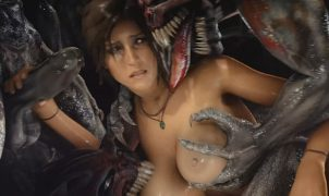 lara croft monster rape gang bang